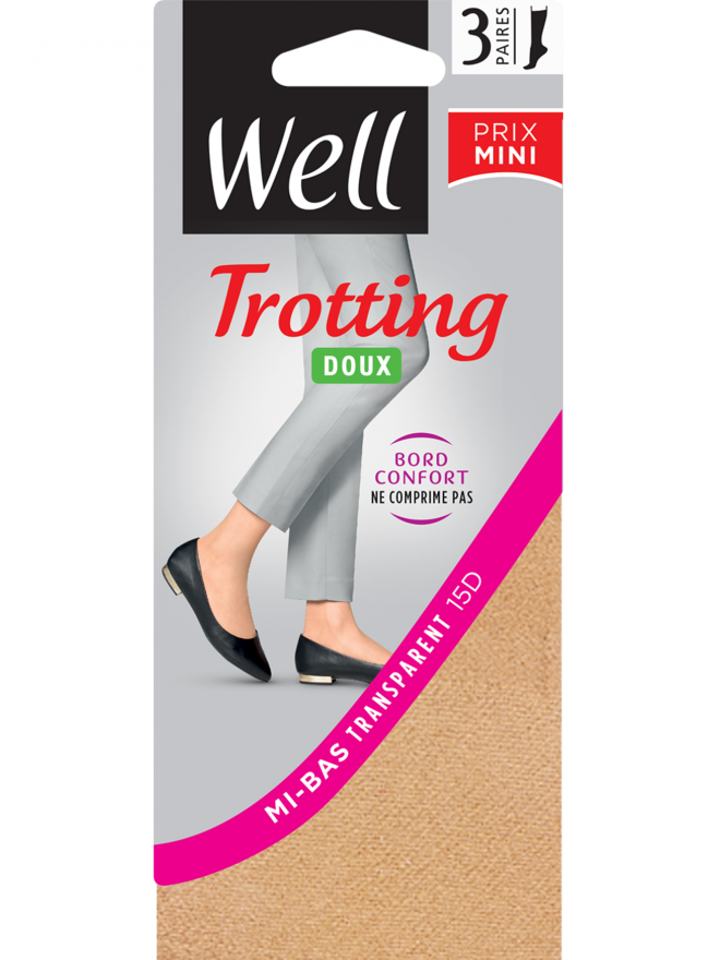 Trotting Doux Lot de 3 mi-bas