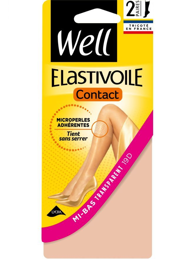 Lot de 2 paires de Mi-bas Transparent 19D Elastivoile Contact