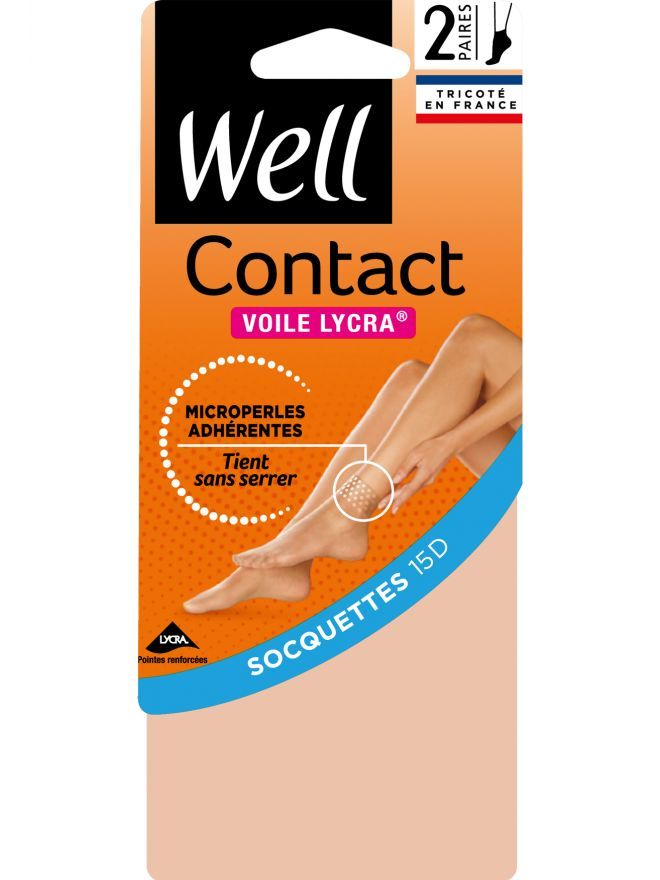 Contact Voile Lycra Lot de 2 Socquettes Transparentes