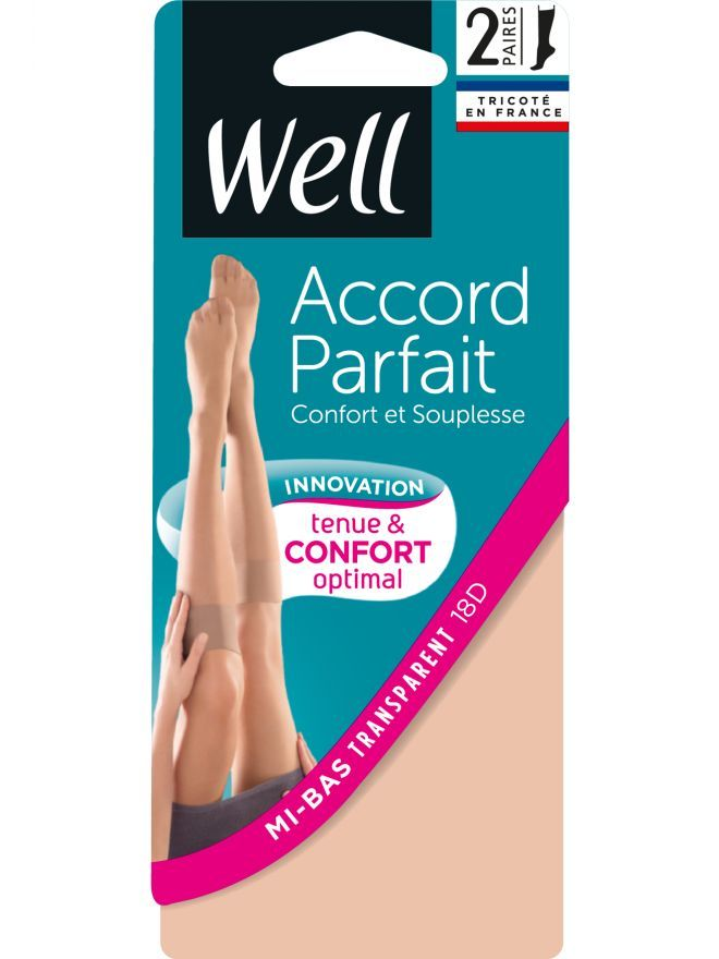 Accord Parfait Transparent Lot de 2 Mi-bas