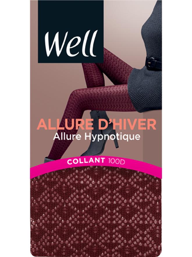 Collant Fantaisie Opaque 100D Lie de vin Allure d'Hiver