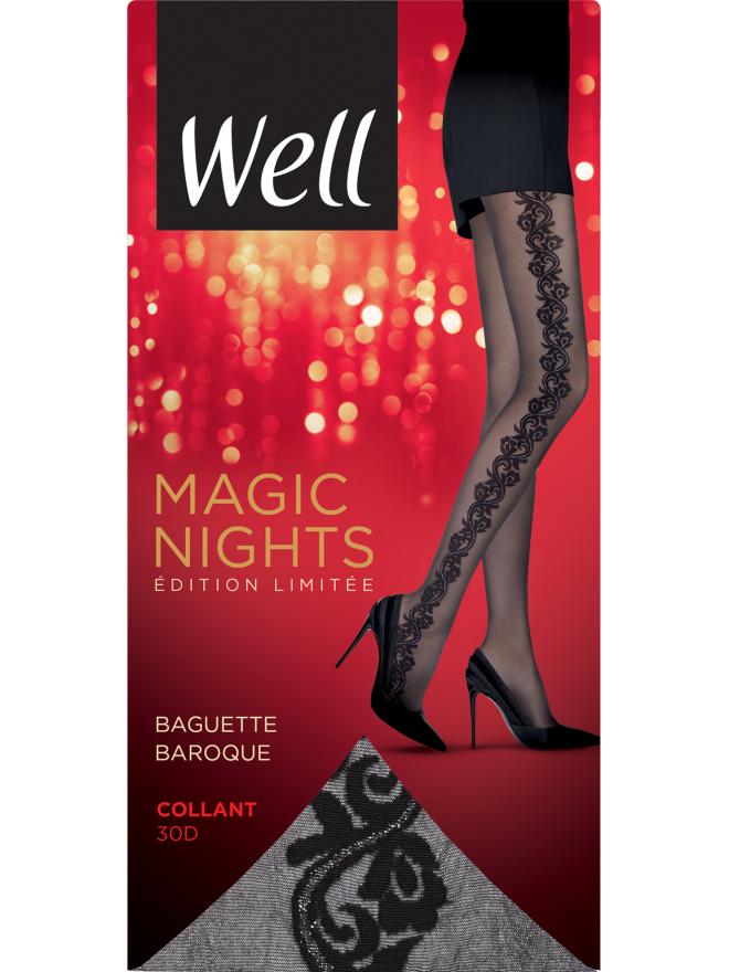 Collant Fantaisie Semi-Opaque 30D avec Baguette Baroque Magic Nights