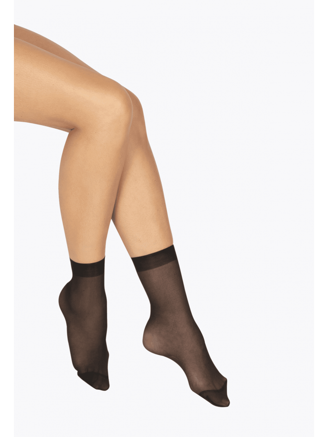 Lot de 2 paires de Socquettes Transparentes 19D Elastivoile Satiné